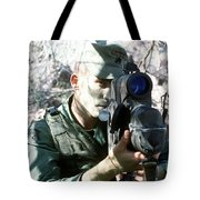 An Army Ranger Sets Up An Anpaq-1 Laser Tote Bag by Stocktrek Images