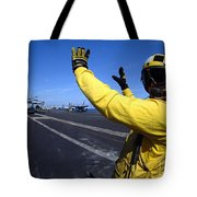 An Aviation Boatswains Mate Directs Tote Bag by Stocktrek Images