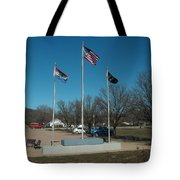 Flags with Blue Sky Tote Bag by Kip DeVore