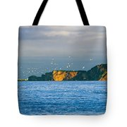 Gannets In Flight And Perce Rock Tote Bag by Yves Marcoux
