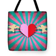 Heart And Cupid On Paper Texture Tote Bag by Setsiri Silapasuwanchai