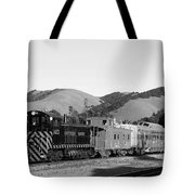 Historic Niles Trains in California . Southern Pacific Locomotive and Sante Fe Caboose.7D10819.bw Tote Bag by Wingsdomain Art and Photography