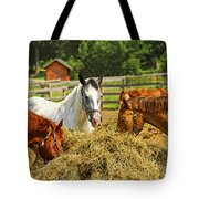 Horses At The Ranch Tote Bag by Elena Elisseeva