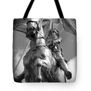 Joan Of Arc Statue French Quarter New Orleans Black And White Tote Bag by Shawn O'Brien