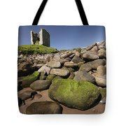 Minard Castle And Rocky Beach Minard Tote Bag by Trish Punch