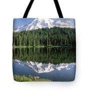 Mt Rainier Reflected In Lake Mt Rainier Tote Bag by Tim Fitzharris