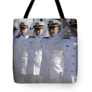 Officers Render Honors During A Change Tote Bag by Stocktrek Images