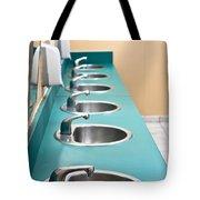 Public restroom Tote Bag by Tom Gowanlock