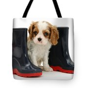 Puppy With Rain Boots Tote Bag by Jane Burton