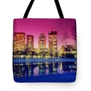 Red River And Downtown Winnipeg Tote Bag by Dave Reede