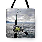 Salmon Fishing Rod Tote Bag by Darcy Michaelchuk