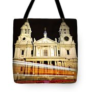 St. Paul's Cathedral In London At Night Tote Bag by Elena Elisseeva