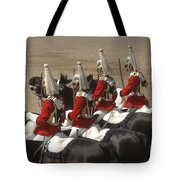 The Household Cavalry Performs Tote Bag by Andrew Chittock