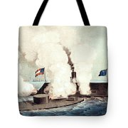 The Monitor And The Merrimac, 1862 Tote Bag by Photo Researchers