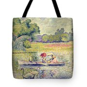 The Promenade in the Bois de Boulogne Tote Bag by Henri-Edmond Cross