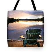Wooden Chair At Sunset On Beach Tote Bag by Elena Elisseeva