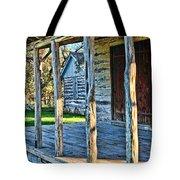 1860 Log Cabin Porch Tote Bag by Linda Phelps