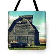 1950 Cadillac Barn Cornfield Tote Bag by Lyle Hatch