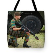 A Soldier Of An Infantry Unit Tote Bag by Luc De Jaeger
