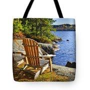 Adirondack Chairs At Lake Shore Tote Bag by Elena Elisseeva