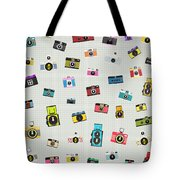 Retro Camera Pattern Tote Bag by Setsiri Silapasuwanchai