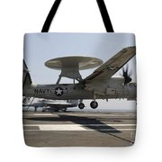An E-2c Hawkeye Lands Aboard Tote Bag by Stocktrek Images