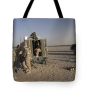 A Control Center For The Howitzer 105mm Tote Bag by Andrew Chittock