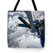 A Kc-135 Stratotanker Refuels An Fa-18 Tote Bag by Stocktrek Images