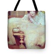 A Listener - The Bear Rug Tote Bag by Sir Lawrence Alma-Tadema