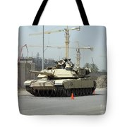 A M1 Abram Sits Out Front Of The New Tote Bag by Terry Moore
