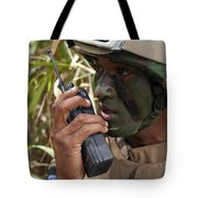 A Malaysian Paratrooper Maintains Tote Bag by Stocktrek Images