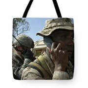 A Marine Communicates With Aircraft Tote Bag by Stocktrek Images