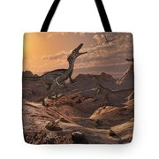A Pack Of Carnivorous Velociraptors Tote Bag by Mark Stevenson