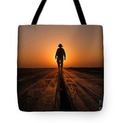A Sailor Walks The Catapults Tote Bag by Stocktrek Images