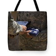 A Soldier Is Presented The American Tote Bag by Stocktrek Images