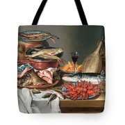 A Still Life of a Fish Trout and Baby Lobsters Tote Bag by Anton Friedrich Harms