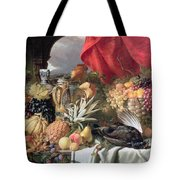 A Still Life Of Game Birds And Numerous Fruits Tote Bag by William Duffield