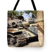 A T-72 Tank Destroyed By Nato Forces Tote Bag by Andrew Chittock