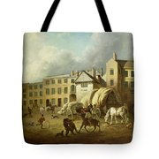 A Town Scene  Tote Bag by George Garrard