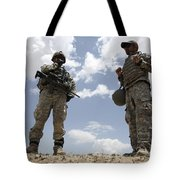 A U.s. Army Soldier Communicates Tote Bag by Stocktrek Images