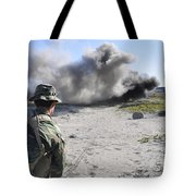 A U.s. Navy Student In Basic Underwater Tote Bag by Stocktrek Images