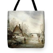 A Winter Landscape With Figures Skating Tote Bag by Dutch School