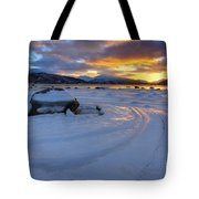 A Winter Sunset Over Tjeldsundet Tote Bag by Arild Heitmann