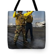 Airmen Direct An Fa-18c Hornet Tote Bag by Stocktrek Images
