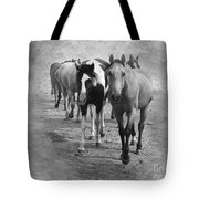 American Quarter Horse Herd In Black And White Tote Bag by Betty LaRue
