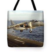 An Av-8b Harrier II Prepares To Land Tote Bag by Stocktrek Images