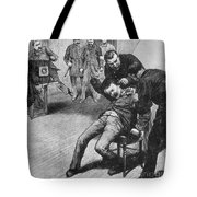 Anarchist Being Held Down For Mug Shot Tote Bag by Photo Researchers