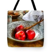 Apples In A Silver Bowl Tote Bag by Susan Savad