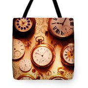 Assorted Watches On Time Chart Tote Bag by Garry Gay