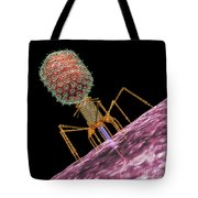 Bacteriophage T4 Injecting Tote Bag by Russell Kightley
